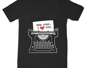 SALE New York Typewriter - V-neck Tshirt Indie Hipster Writing Writer Heart NYC Tee Shirt Love Letter Book Literary Author LiteratureT-shirt