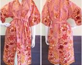 Peach Burgundy Roses Thai Batik Cotton Kimono Bridemaid Wedding Bath Robe S - L