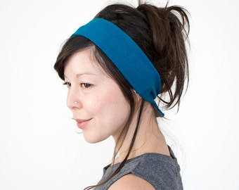 Teal Skinny Tie Back Headscarf