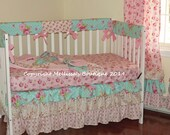 Custom 3 Tier Ruffled Shabby Chic Vintage Roses Boutique Complete Crib Bedding Set CHOOSE and CUSTOMIZE