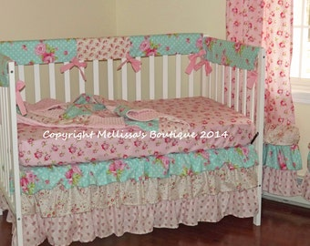 LAST ONE Custom 3 Tier Ruffled Shabby Chic Vintage Roses Pink Aqua Boutique Complete Crib Bedding Set Only 1 AVAILABLE
