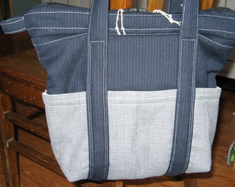 Large tote bag with zipper, upcycled suiting fabric, 6 exterior pockets, 2 interior pockets