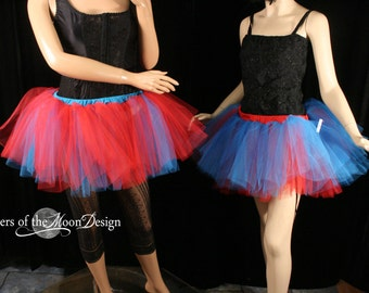 Thing 1 Thing 2 Tutu skirt set par two layer Adult cosplay costume dance halloween run race blue red - You Choose Size - Sisters of the Moon