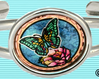 Butterfly Bracelet with Cactus Flower