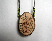 La Vita E Bella - Rustic Twig Slice Wooden Peridot Beads Hemp Necklace by Tanja Sova