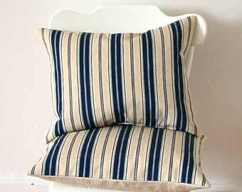 Pillow Ticking Stripe Vintage Fabric Pillow Blue Stripe Vintage Ticking Linen