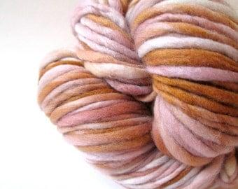 Handspun Yarn – Hand Dyed Merino Wool – Aran Weight Singles Yarn – Light Pink and Golden Tan – 100 Yards