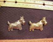 2 Scottie Dog Pins metal goldtone and silver tone
