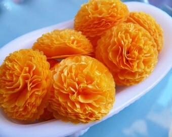 Button Mums Tissue Paper Flowers Orange Sherbert Wedding, Bridal Shower, Baby Shower Decor 1 inch in size