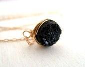 Black druzy Choker necklace Vitrine Gift for her under 45 14K goldfilled Winter fashion