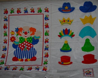 Clown Wallhanging with Hats Here Come the Clowns Fabric Panel