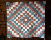 OOAK Trip Around the World crib or wall quilt top white, rose, blue calico floral