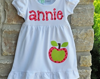 AWESOME APPLE Back to School -  Monogram Personalized Dress - 12m-10 years  - Julianne Originals