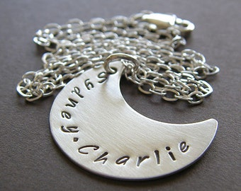 Crescent Moon Necklace - Personalized Sterling Silver Hand Stamped Charm Necklace