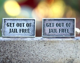 Cufflinks - Cuff Links - Get out of Jail Free Card
