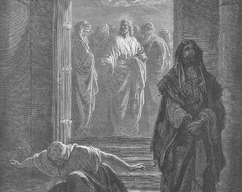PUBLICAN PHARISEE Jesus Christ JEWISH  ~~ 1800s Old Vintage Antique Art Print Engraving Biblical Gustave Dore [inv#77