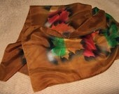 Vintage HANDPAINTED 100% SILK SCARF - Autumn - Fall Colors
