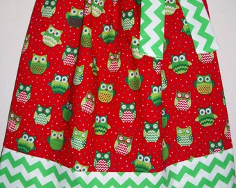 SALE Christmas Pillowcase Dress Chevron Owls Red Green baby toddler girl Holiday