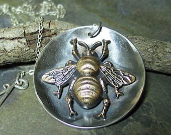 Bee Pendant  Bumblebee Pendant  Honeybee Necklace sterling silver Garden Jewelry Insect Jewelry  - The Garden Bee