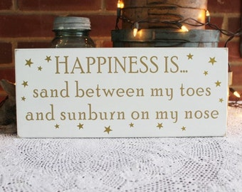 Beach Sign Sand Between Toes and Sunburn Nose Wood Coastal Shabby Plaque Seaside Summer
