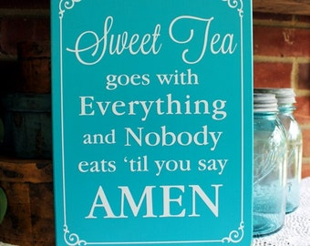 Sweet Tea Wood Sign Amen Southern Saying Wall Decor Family Home