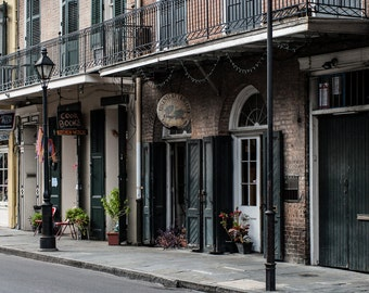 New Orleans Print, French Quarter Photography, Louisiana, Balcony, NOLA Art, Toulouse Street, Brown Wall Art, Historic Architecture