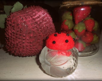 Vintage Clear Glass Strawberry holder remade into a Pin Cushion