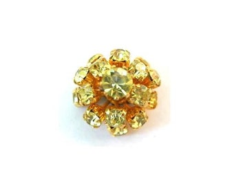 SWAROVSKI BEADS antique vintage  metal flower with light yellow crystals- RARE