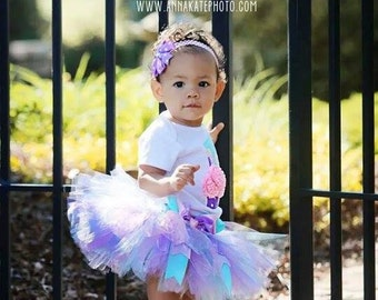Baby Girl Birthday Tutu - 1st Birthday Tutu Outfit - Cake Smash Outfit - Cupcake Birthday