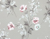 1940's Vintage Wallpaper - Floral Wallpaper with Pink and White Flowers on Light Brown