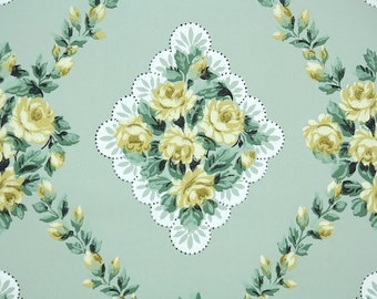 1940s Vintage Wallpaper by the Yard - Floral Wallpaper with Yellow Roses on Green