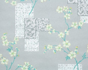 1960's Vintage Wallpaper - Floral Wallpaper Yellow Cherry Blossoms on Gray with Silver Metallic Tiles