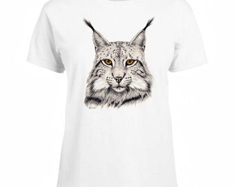 Ladies T-shirt Eurasian Lynx Cat Art Sizes XS-2X