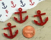 RED GLITTER ANCHORS - 3 Pieces - In Laser Cut Acrylic