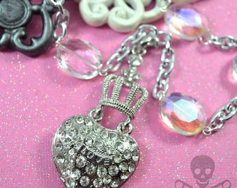 MADE For ROYALTY- XL Bling Crown Heart Pendant Necklace