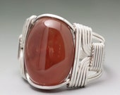 Carnelian Cabochon Sterling Silver Wire Wrapped Ring - Made to Order and Ships Fast!