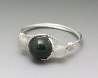 Bloodstone & Prehnite Sterling Silver Wire Wrapped Ring - Made to Order, Ships Fast!