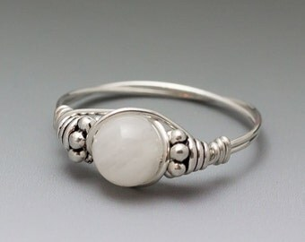 White Moonstone Bali Sterling Silver Wire Wrapped Ring ANY size