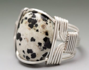 Dalmatian Jasper Cabochon Sterling Silver Wire Wrapped Ring - Made to Order and Ships Fast!
