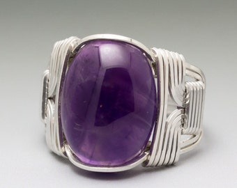 Amethyst Sterling Silver Wire Wrapped Cabochon Ring - Made to Order and Ships Fast!
