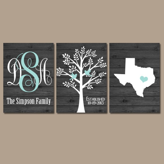 Wedding Gift Wall Art : Custom Wedding Gift, Family Tree Wall Art, Personalized Monogram ...