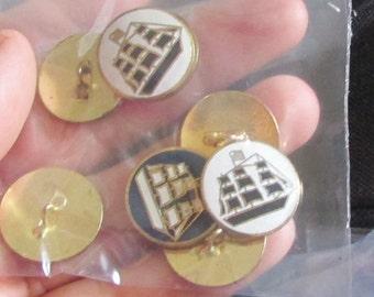 schooner ship buttons set of 8