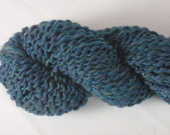 Handspun Yarn - Teal Merino Wool - 80 yds