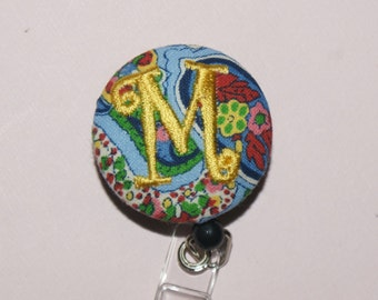 Many fabrics to design YOUR Badge Reel. Monogrammed single letter,