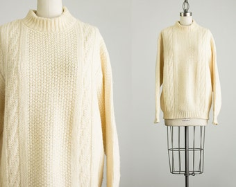 80s Vintage Cream Virgin Wool Fishermans Sweater / Large