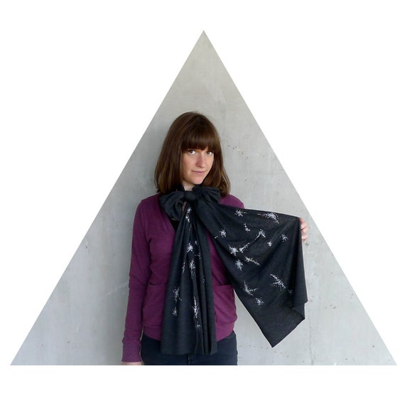 Sagittarius scarf. Black jersey bland scarf. Sagittarius gift for men or women.