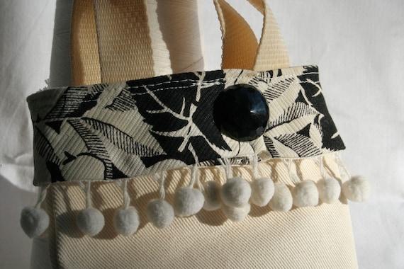 Tote Bag Vintage Fabric Mini Black White OOAK