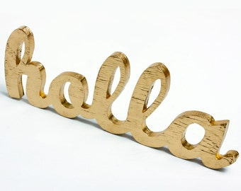 holla script handmade wood sign - wall decoration for gangsta or modern decor