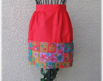 RED with LARGE POCKETS Half Apron