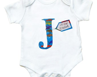 Personalized Alphabet Babygro / Boys Personalised Bodysuit / New Baby / Baby Shirt / All in One / Romper